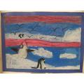 We drew beautiful Antarctica pictures with pastels
