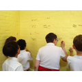 KS2 write goodbye messages to the old classroom
