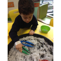 Using the tweezers to collect the snowflakes