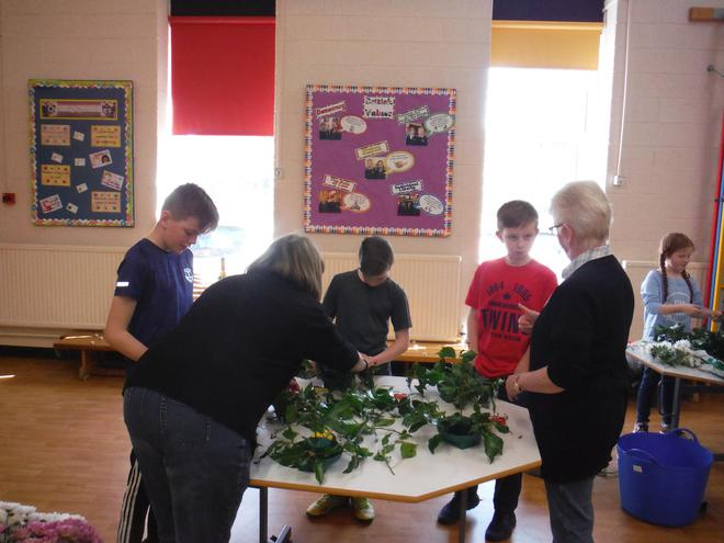 They demonstrated flower arranging.