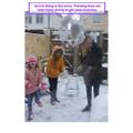 Alexa and sisters snowballing Mum
