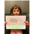 Ruby showing off her drawing skills
