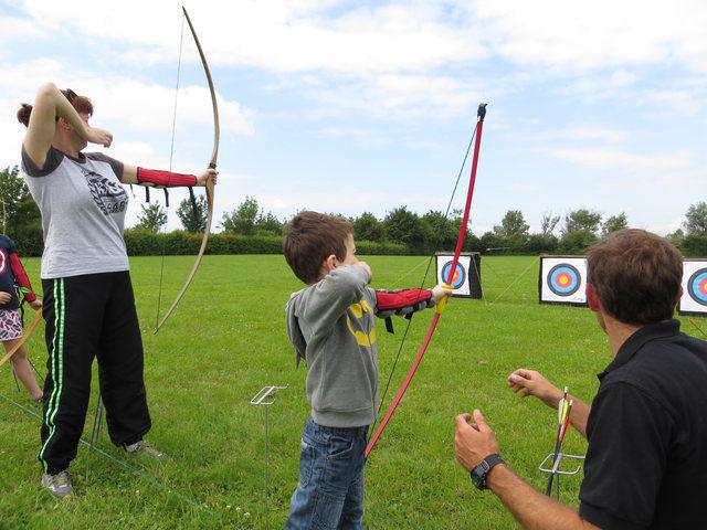 Mrs Pickup demonstrating her Archery skills!