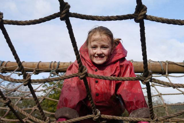 Year 4 PGL residential. Elizabeth climbing high