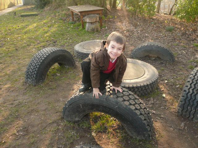 Having fun on the Tyre park.