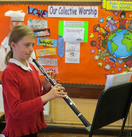 Lucie playing the Oboe