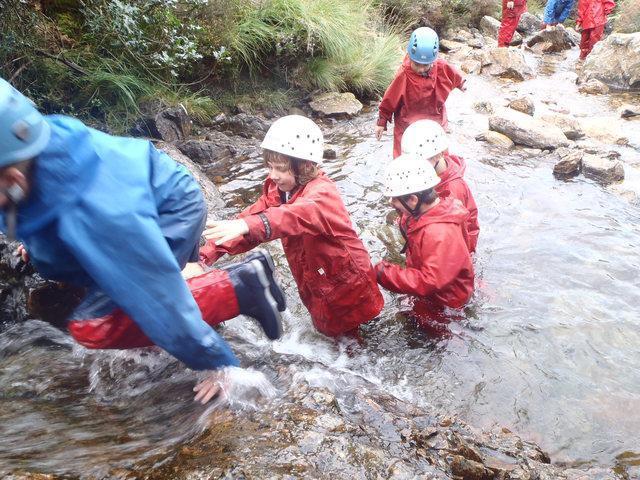 Snowdonia. Hazel & others getting wet!