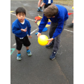 PE 'Coaching' with Reception buddies
