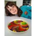 Swirly rainbow pattern