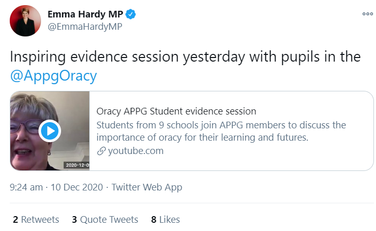 Praise from the Chair of the Oracy APPG