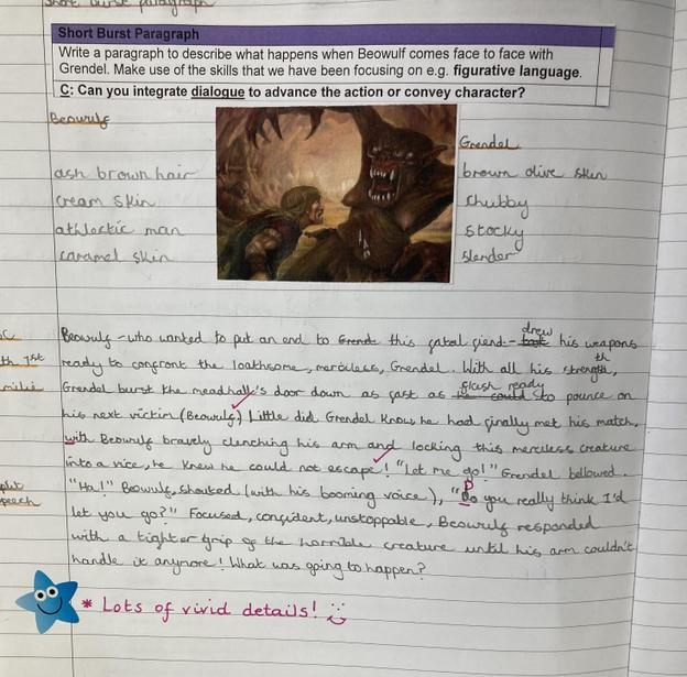 Describing Beowulf and Grendel's battle