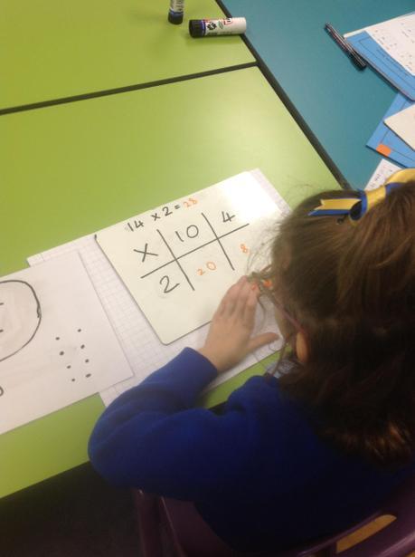 Showing understanding of grid method