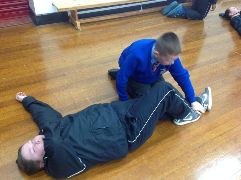 Role play an injury - recovery position