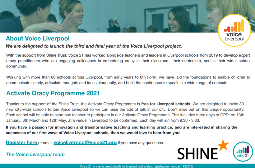 Our school is part of the 'The Voice Liverpool Activate Programme'