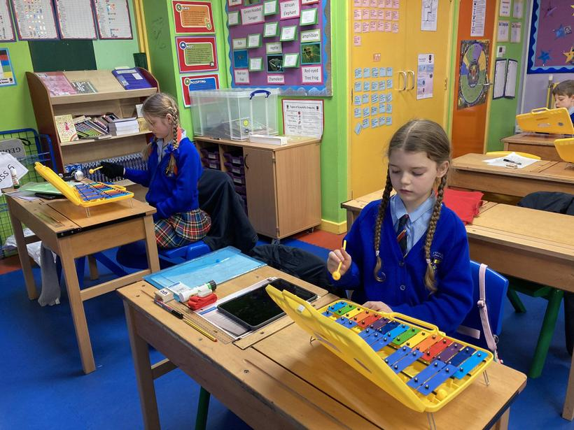 Learning to play the rhythm of Mamma Mia on the Glockenspiel