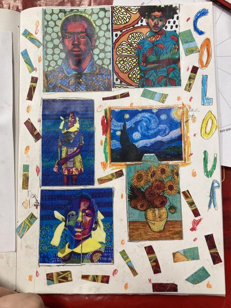 Creating a colour collage after being inspired by the work of Bisa Butler and Van Gogh