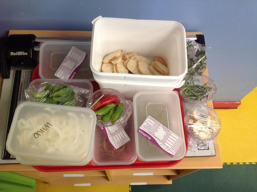 Various ingredients Year 5 used for their preference test.