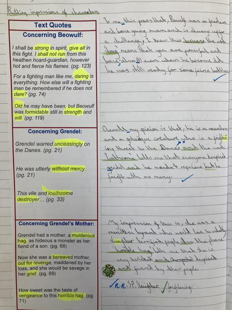 Analysing character quotes from the Michael Morpurgo version of 'Beowulf'
