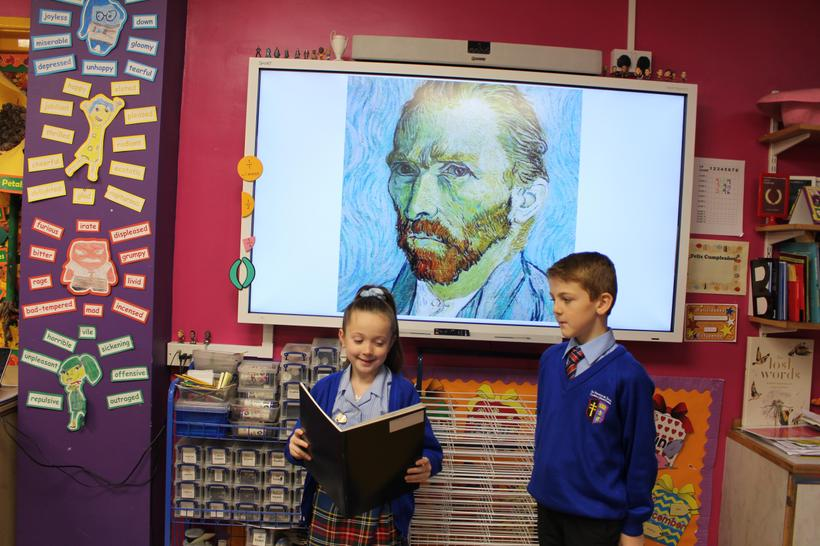 Performing a presentation about Vincent Van Gogh