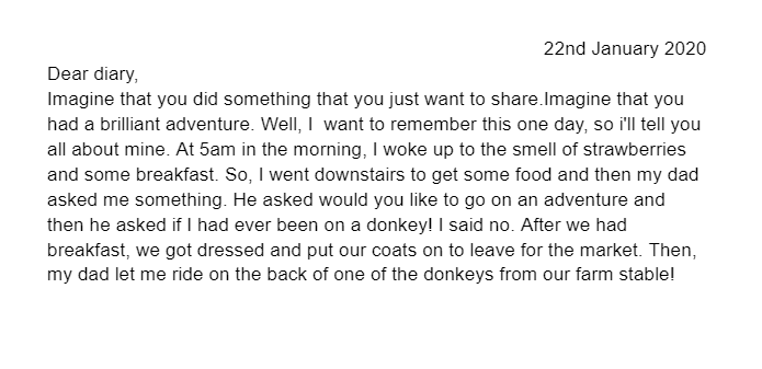 An independent recount written on Google Classroom.