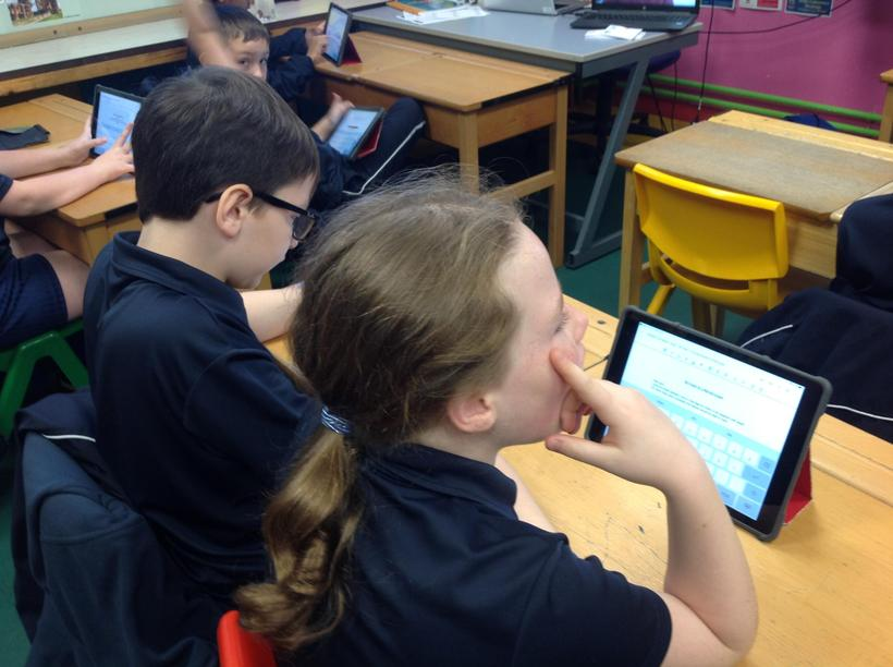 Completing an arithmetic test on Google Classroom