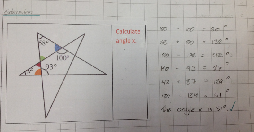 Using knowledge of angles rules to independently work out the missing angle