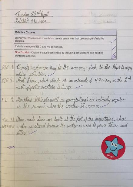 Relative clauses for non-chronological reports