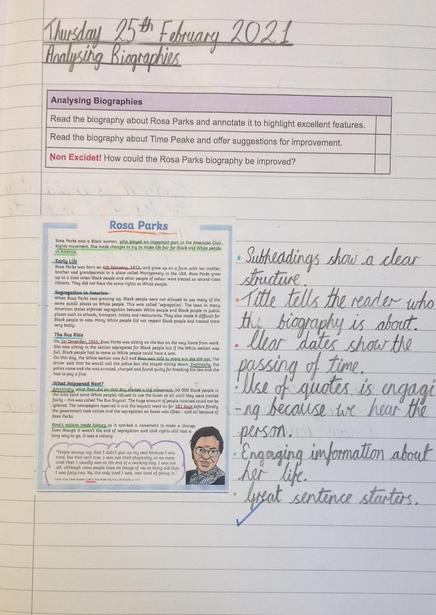 Analysing the features of a biography