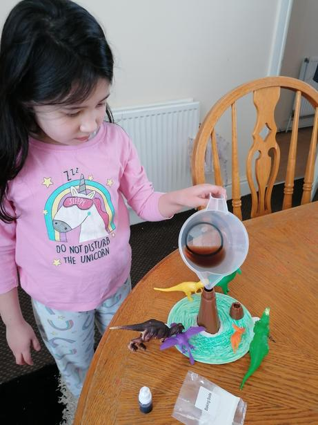 Ellie working on her volcano
