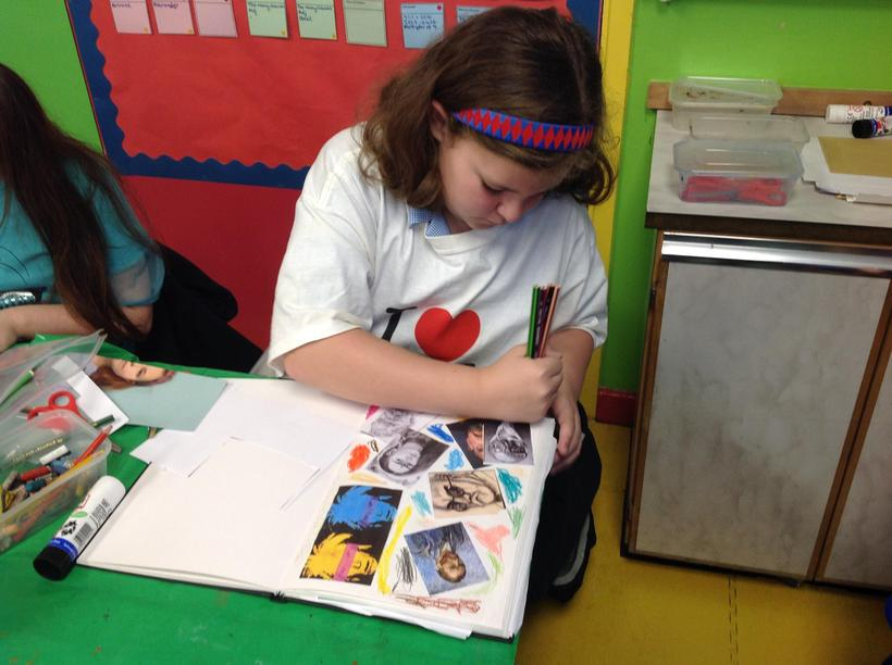 Adding our thoughts to our sketch books