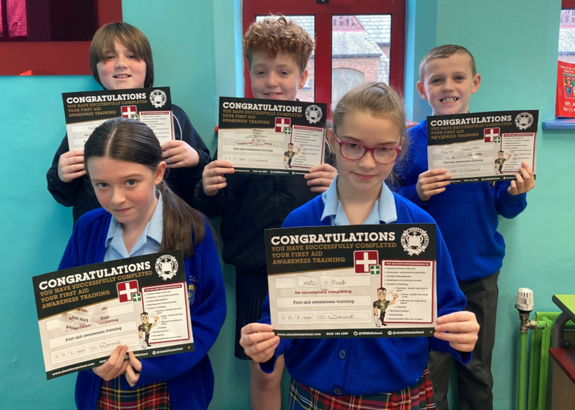 Achieving 100% in their practical and written First Aid exam.