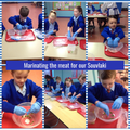 Year 4 - Marinating the meat for our Souvlaki