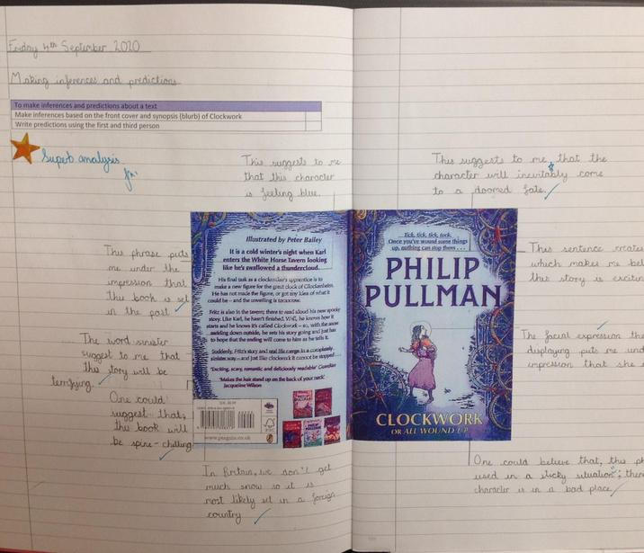 Using the front cover to make predictions and inferences