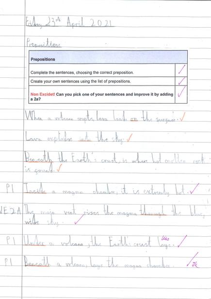 Writing prepositions