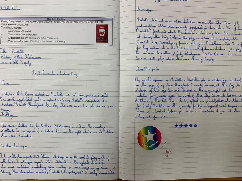 Writing a book review after reading Macbeth.