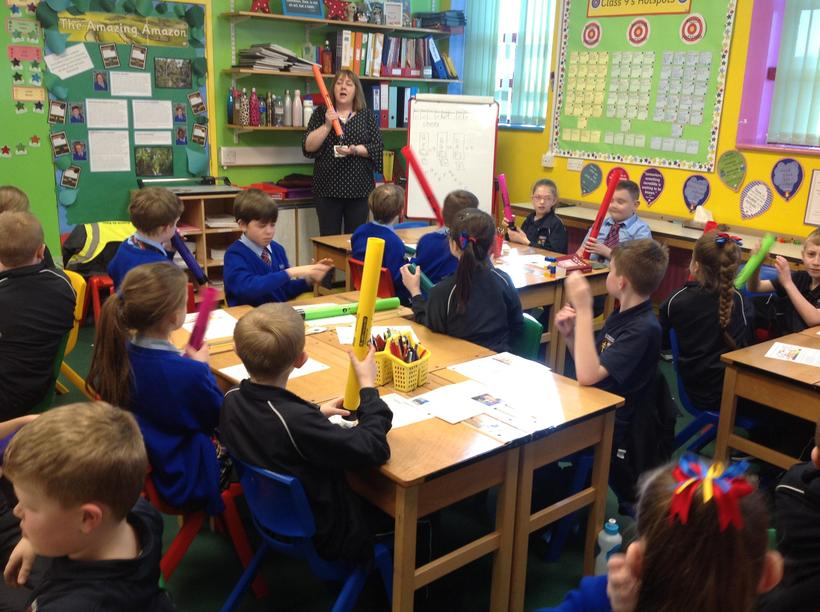 Using boomwhackers to practise a pattern