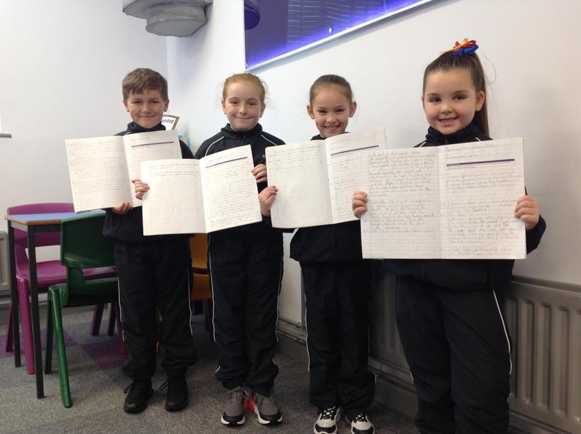 Sharing our final pieces of writing.