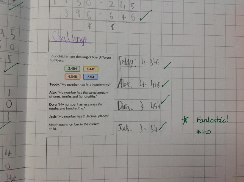 Decimal and place value challenge