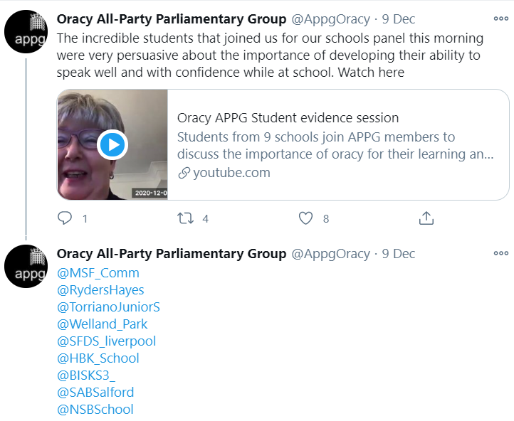 The Oracy APPG sharing the interview footage publicly