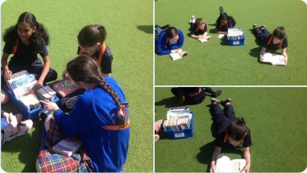 Yr 6 utilising our outdoor reading boxes. Something for everyone with classics and comics.