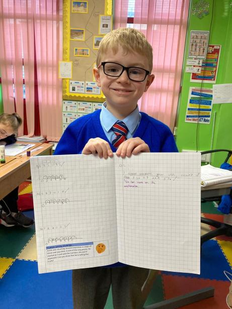 A Y3 pupil with his independent work - multiplication on a number line