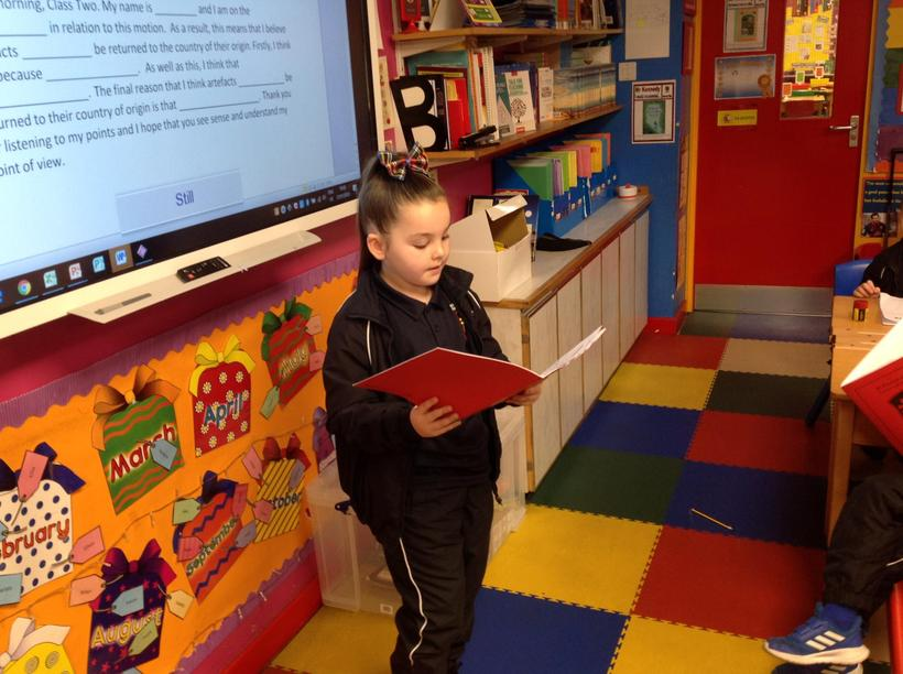 Reading out examples of good work.
