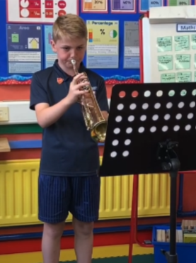 Independently playing in a brass lesson