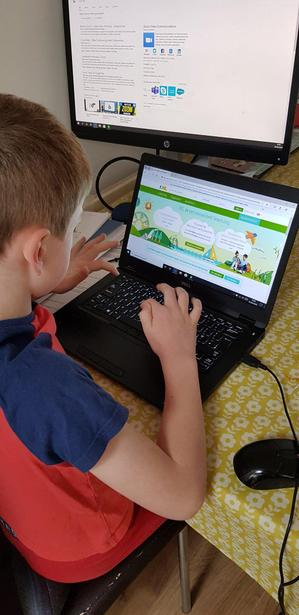 Callum working on his Reading Plus account!