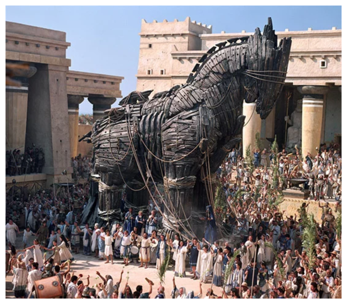 A depiction of the Trojan Horse in popular culture