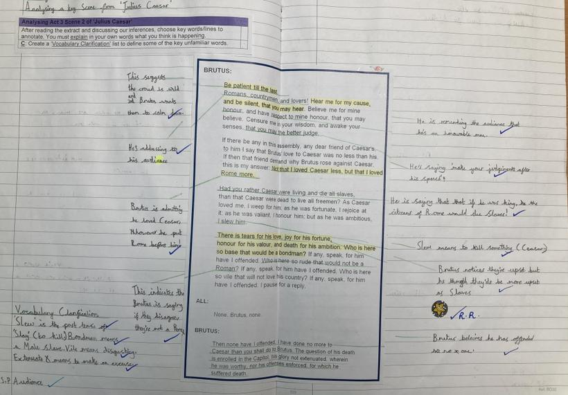 Reading and analysing a key scene from 'Julius Caesar'