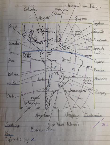 Using an atlas to label South America
