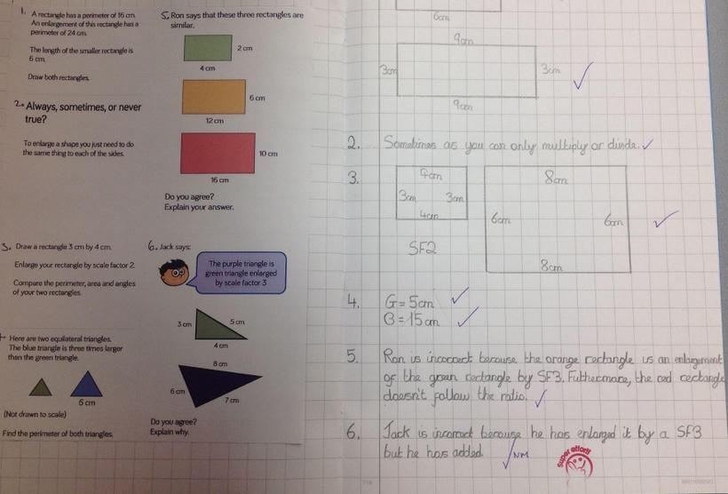 Enlarging shapes using scale factors
