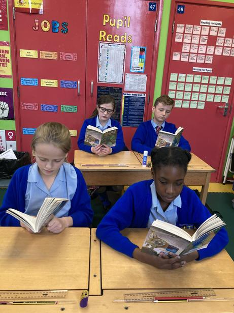Reading 'Beowulf' during Story Sessions