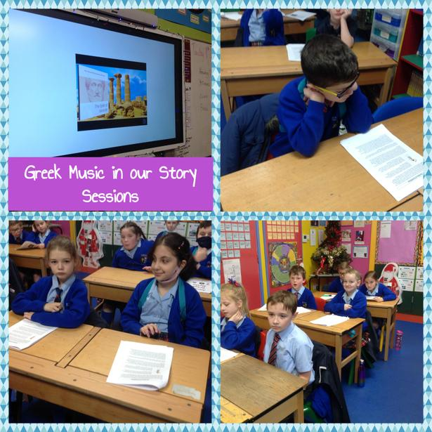Listening to and discussing Greek music in our story sessions
